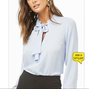 NWT Forever 21 Ruffle Tie Neck Top